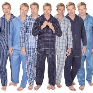 Para Hombre Cotton Stripe Check Plain Pijamas Tallas Grandes 3xl 4xl 5xl Franela Termica Ebay