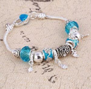 Silber-Tuerkises-Bettelarmband-13-Charms-Murano-Glas-Geschenk-Pandora-Art
