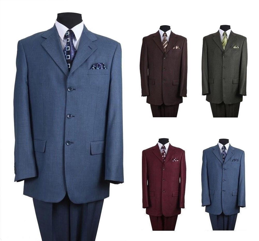 Men's Classic Wool Feel Three Button Suit Milano Moda Style 5802M