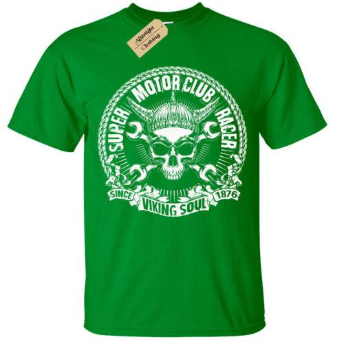 Viking Soul Biker T-Shirt Mens Super Motor Club Racer motorbike