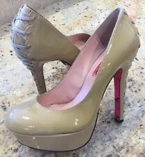 """BETSY JOHNSON """"DITA"""" Size 7.5 NUDE Patent Leather PLATFORM Lace Up Heels Pumps"""