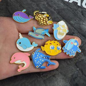 Cute Animals Whale Shark Octopus Puffer Fish Hard Enamel Pin Lapel Brooch Hot