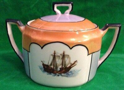 "Antiques Pk Unity Germany Porcelain Clipper Ship Orange Lusterware 4"" Handle Dish Bowls"