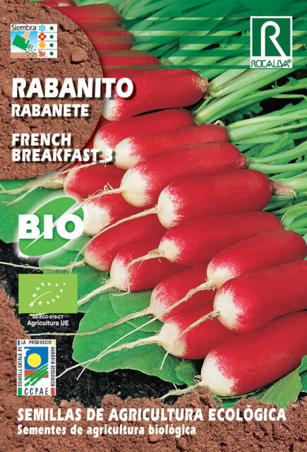 Semillas ECOLOGICAS Rabanito French Breakfast III , Sobre 3 gr