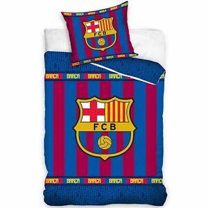 FC-Barcelona-Rayure-Housse-Couette-Simple-Set-100-Coton-Officiel-2-Modeles-en-1