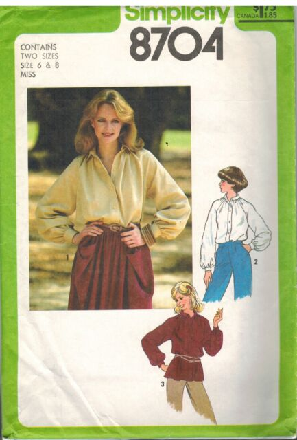 8704 VINTAGE Simplicity SEWING Pattern Misses Shirt Blouse Raglan Sleeves OOP