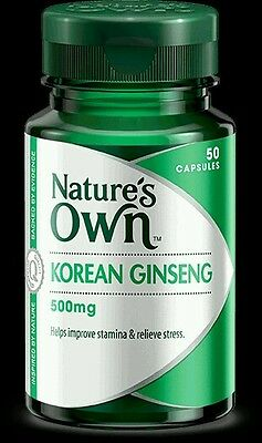 BEST PRICE! NATURE'S OWN KOREAN GINSENG 500MG 50 CAPSULES - OzHealthExperts