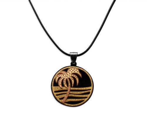 Leder Halskette 40-75cm mit Edelstahl Palme Anhänger Ø 33mm in Gold-Silber 1532