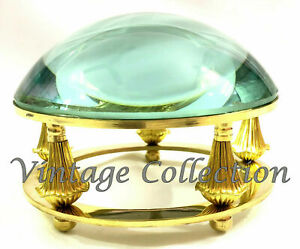 Collectibles Antique Brass Dome Lens Magnifying Glass Table Paper Weight Decor Ebay