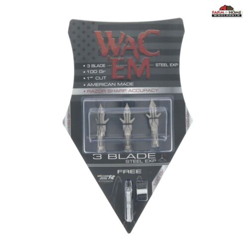 Wac Em 3-Blade 100 Grain Steel Expandable Broadhead ~ NEW