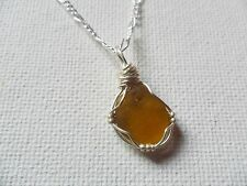 "Olive tinted yellow sea glass & bead wire wrapped necklace - 18"" chain"