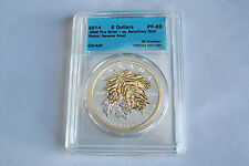 CANADA 2014 $5  1 OZ  PROOF SILVER ,9999 MAPLE LEAF WITH GOLD PLATED CCCS PF68