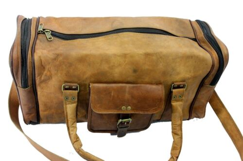Men/'s Brown Genuine Leather Cowhide Large Capacity Travel Luggage Duffle Gym Bag