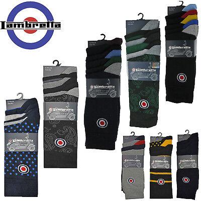 Hell Lambretta Socks Mens Cotton Pairs 3 & 5 Pack Mod Multi Colour Soft Uk 6 - 11