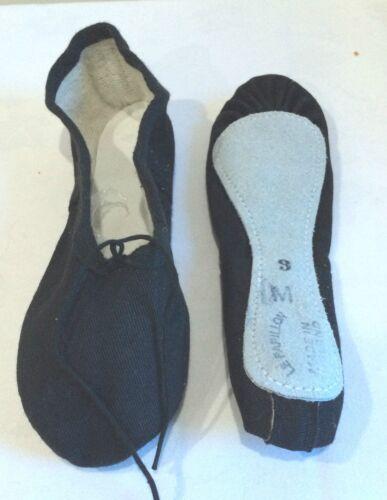 Yoga Toile Noire Full Sole Ballet Chaussures Escarpins Childrens par le papillon-Danse