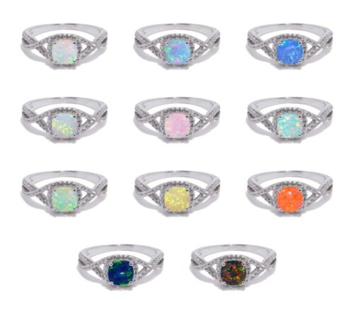 White Gold Finish Square Cut Infinity Celtic Fire Opal Birthstone CZ Silver Ring