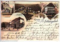 Gruss aus Schlangenbad AK 1897 Pariser Hof Mehrbild Litho Taunus Hessen 1506003*
