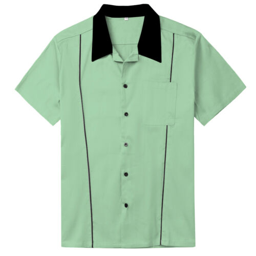 Mens Shirts Plus Size Casual Tops  Rockabilly Retro Bowling Shirts Mint Green