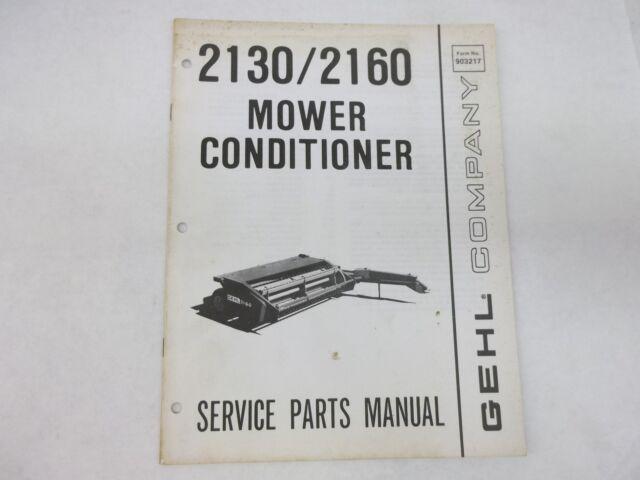 Gehl Model 2130 2160 Mower Conditioner Service Parts Manual