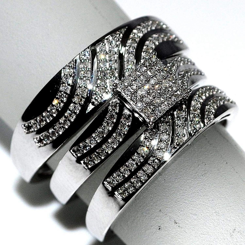 Round Diamond 14K White gold FN Wedding Bridal Set Engagement Trio Ring His Her