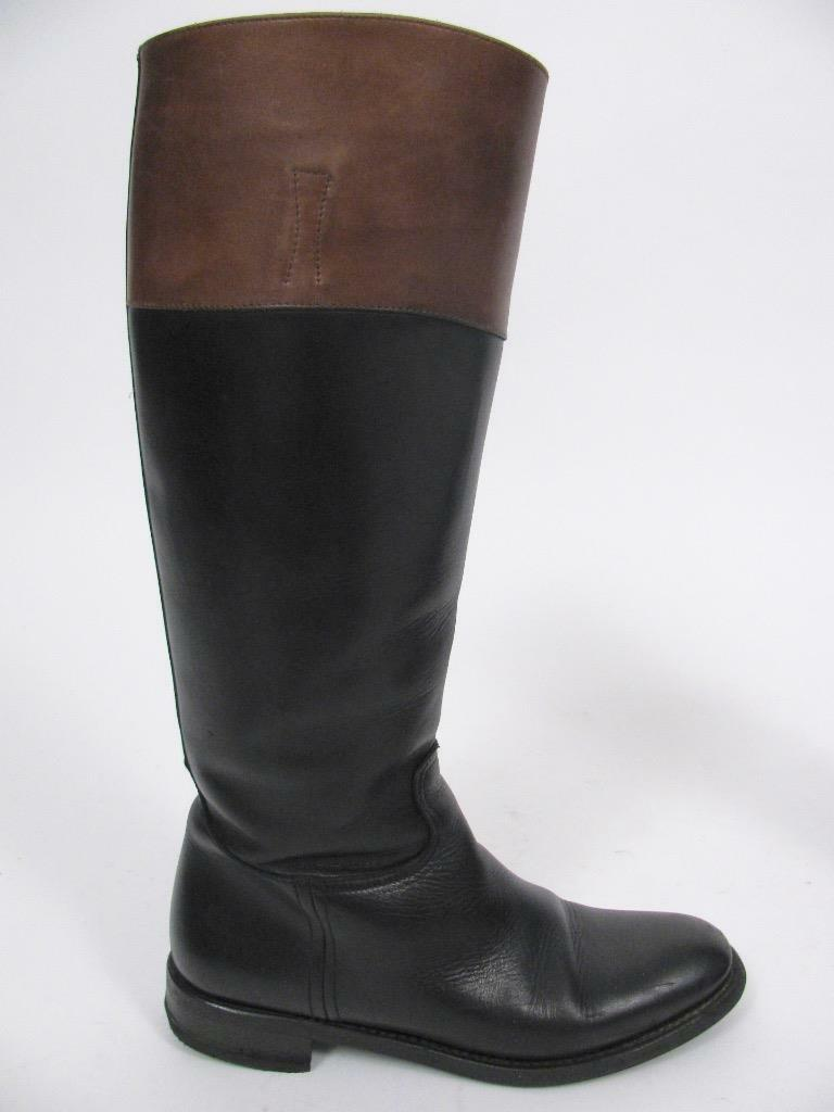 CHURCH'S ENGLAND MARTINA BLACK LEATHER EQUESTRIAN RIDING TALL BOOTS SHOE~38.5