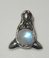 Goddess Of Abundance Pendant .925 Sterling Silver - Mother Midwife Rbw Moonstone