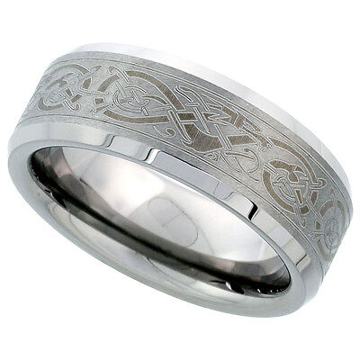 8mm Tungsten Flat Wedding Band Ring Etched Celtic Dragon Pattern, Beveled Edges