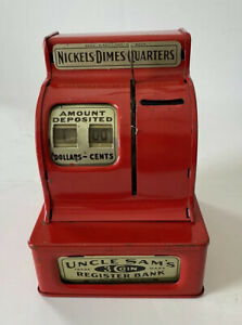Vintage Red Uncle Sam's Trade Mark 3 Coin Register Bank $1.00 In Bank