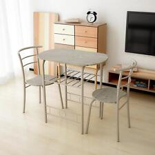 iKayaa 3pcs Breakfast Dining Table Set With 2 Chairs Compact Kitchen ...
