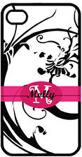 Personalized iPhone 4 4S Monogrammed Scroll Design Curlz Font Hard Case Cover