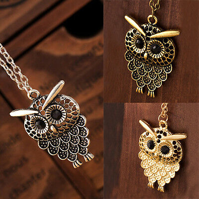 Women Girl Vintage Cute Owl Pendant Neclace Long Sweater Chain Necklace Jewelry