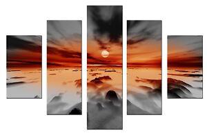 Storm Grey Orange 5p 115x80cm Wall Art Canvas Print Artwork