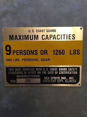 United Marine Corp Boat Capacity Plate~Tag~9 Person~1200 Lbs~Sea Sprite 225