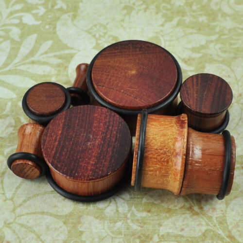 Red Sandalwood Single Flare Natural Organic Wood Ear Gauges Plugs