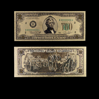 24k Gold Dollar Foil Money Us Paper 2 Usd Banknotes Collection Home Office Decor