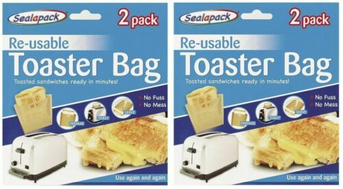 2 Packs X 2 Réutilisable Grille-Pain Toasts Sandwich Sacs tapageuse No Mess
