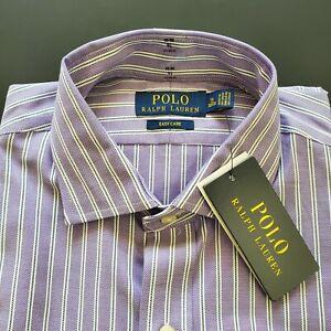 New Polo Ralph Lauren Mens Striped Purple Dress Shirt Button Down ...