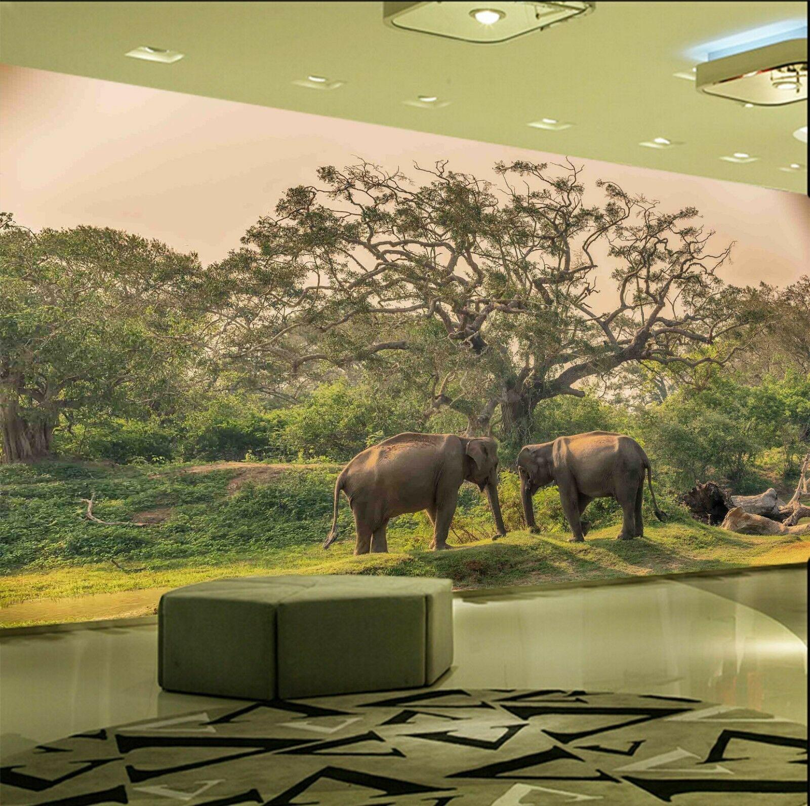 3D Hill Elephant 7161 Wallpaper Mural Wall Print Wall Wallpaper Murals US Lemon