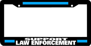 SUPPORT-LAW-ENFORCEMENT-police-thin-blue-line-officer-License-Plate-Frame