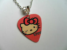 HELLO KITTY  Double Sided Guitar Pick  //  Plectrum  Silver  Necklace