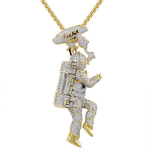 eb159b2cd731c Details about Men's 3D Iced Out Astronaut Space Think Custom Pendant Chain