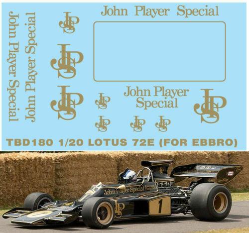 X EBBRO 1//20 LOTUS 72E JPS SPONSOR DECALS DECALS TB DECAL TBD180