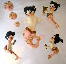 VTG JEWELED SHELLS MERMAID BABIES MOM DAUGHTERS BATH WALL PLAQUES BUBBLES