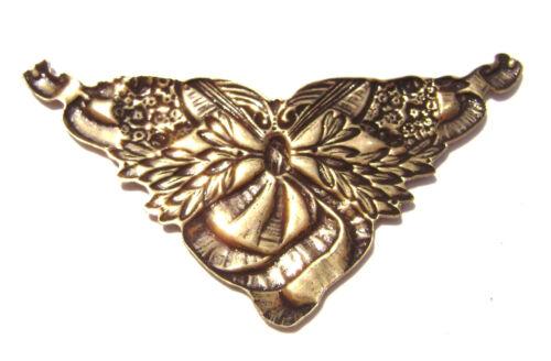 2186  Antiqued Brass Sterling Silver Corner Flower Ribbon Pendant Centerpiece