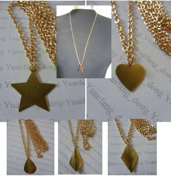 """A Simple Stylish Light Rose Gold Tone Blank Shape Charm Long 30"""" chain Necklace"""