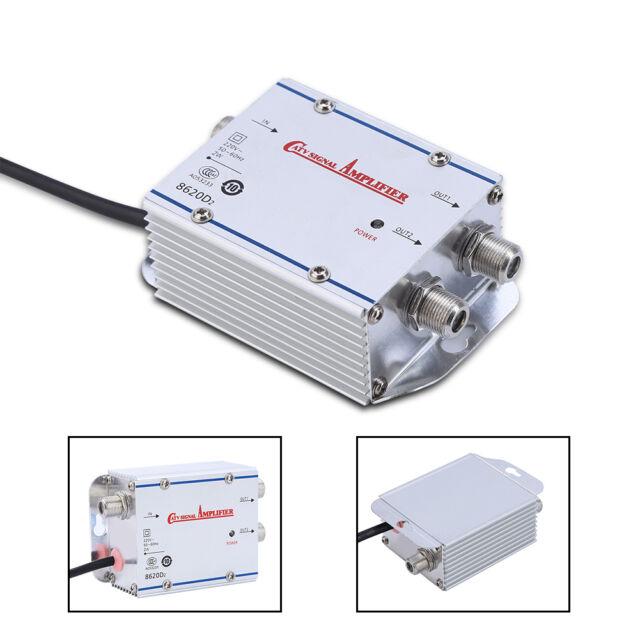 20DB 2-Way CATV Cable TV Antenna Booster Signal Amplifier Splitter HDTV AMP  220V