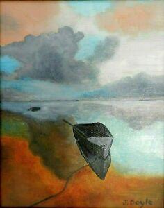 "M.JANE DOYLE SIGNED ORIG.ART OIL/CANVAS PAINTING ""GATHERING STORM""(SEASCAPE)FR."