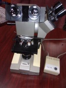 Olympus-BHA-BH-Microscope-DUAL-HEAD-2-LIGHT-SOURCE