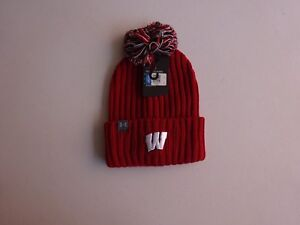 4fb64f57535 Image is loading Under-Armour-Wisconsin-Badgers-Collegiate-Pom-Beanie-NWT