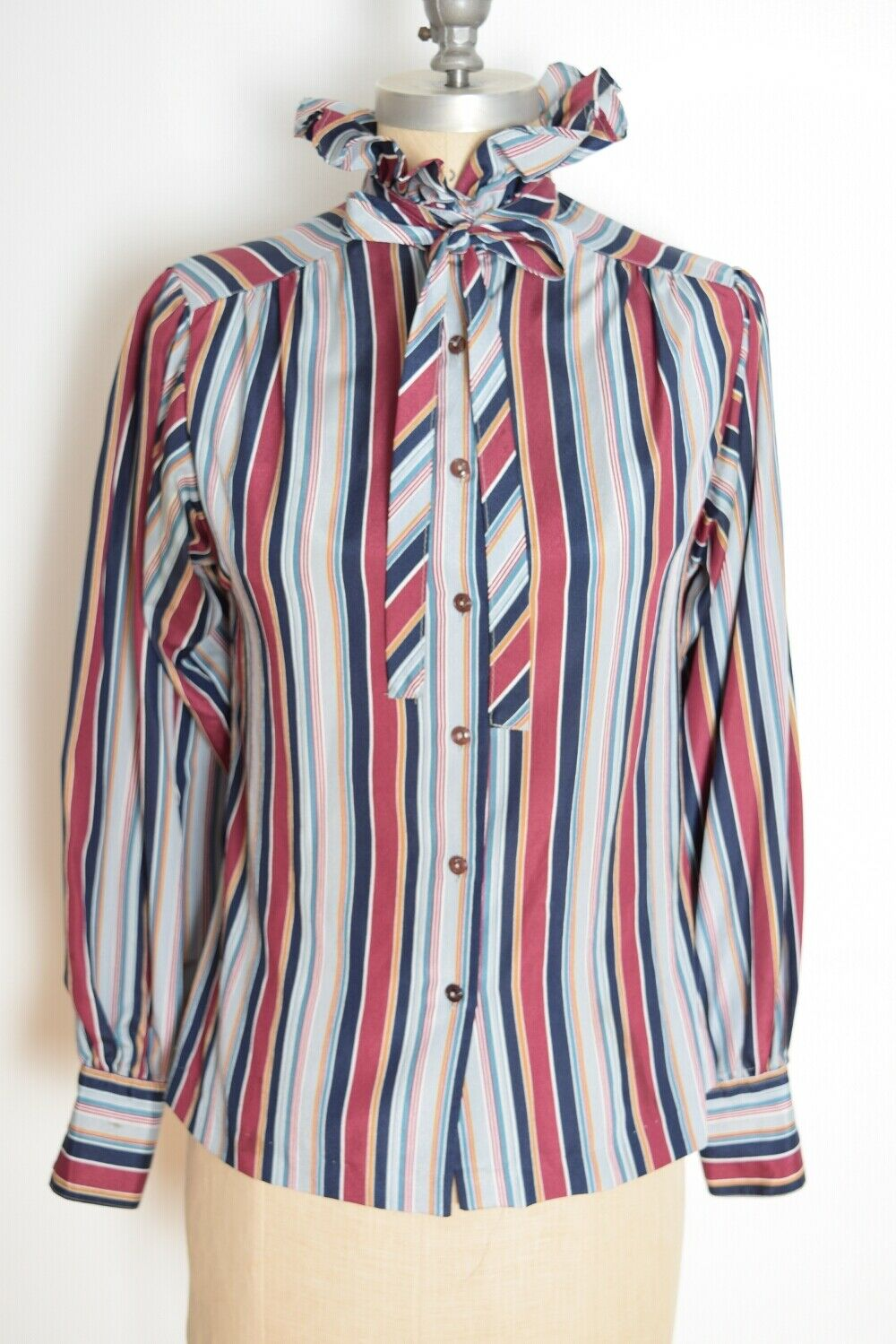 vintage gray striped bow blouse 1970s ascot tie secretary button down medium large